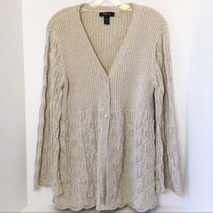 Style & Co Off White Oatmeal Knit Cardigan Large